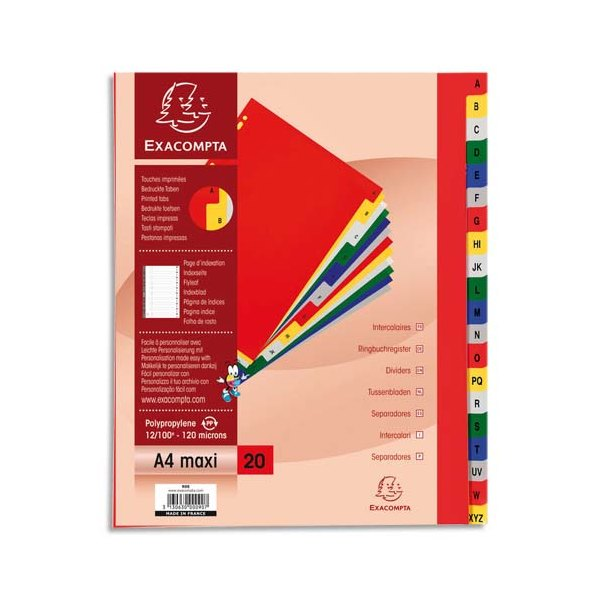EXACOMPTA Jeu d'intercalaires alphabétiques en polypropylène. 20 touches multicolores. Format A4+
