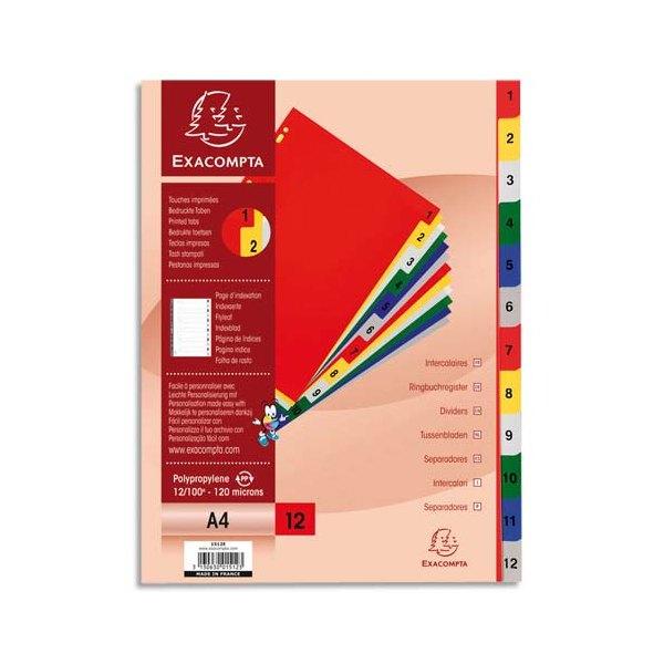 EXACOMPTA Jeu d'intercalaires numériques en polypropylène. 12 touches multicolores. Format A4