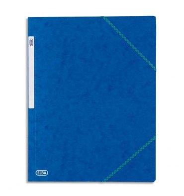ELBA Chemise à 3 rabats et élastiques en carte lustrée TOP FILE, format A4, coloris bleu