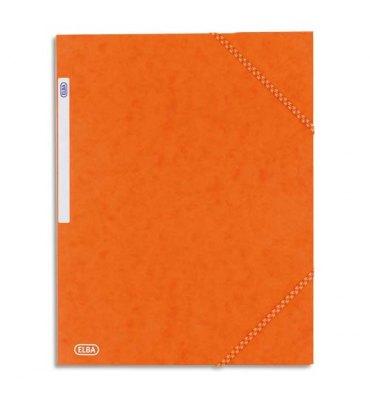 ELBA Chemise à 3 rabats et élastiques en carte lustrée TOP FILE, format A4, coloris orange
