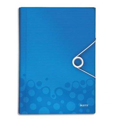 LEITZ Trieur ménager WOW en polypropylène. 5 compartiments, fermeture par élastique. Coloris bleu