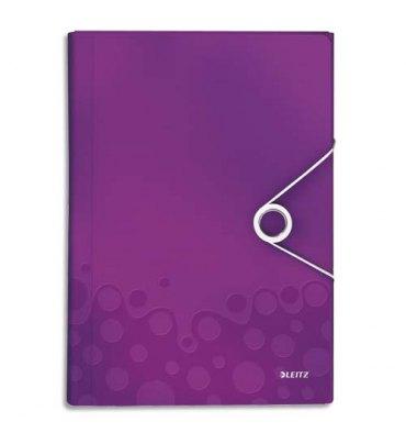 LEITZ Trieur ménager WOW en polypropylène. 5 compartiments, fermeture par élastique. Coloris violet