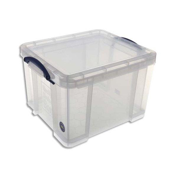 RUB Boîte de rangement 35 Litres + couvercle - Dimensions 48 x 31 x 39 cm coloris transparent