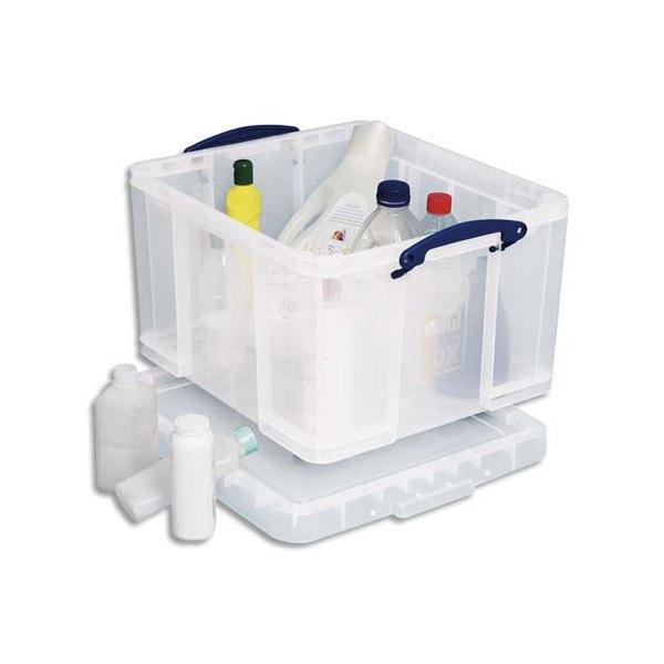 RUB Boîte de rangement 48 Litres + couvercle - L60 x H31 x P40 cm - transparent
