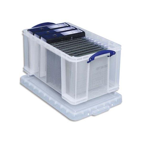 RUB Boîte de rangement 64 Litres + couvercle - Dimensions : L71 x H31 x P44 cm coloris transparent