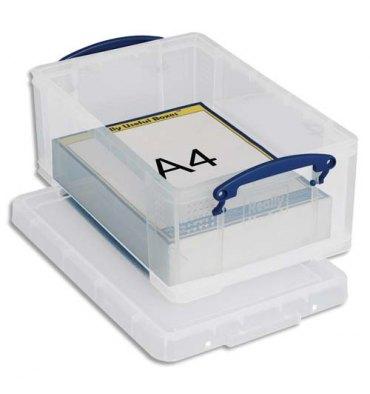 RUB Boîte de rangement pour format A4 - 9 Litres + couvercle - coloris transparent