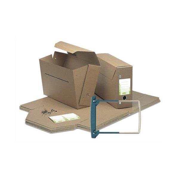 JALEMA Lot de 10 boîtes à archives communales en kraft très résistant. Dos 11,5 cm. Montage manuel + 10 JalemaClipex