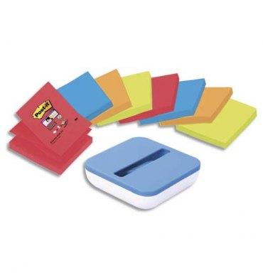 POST-IT 8 blocs Z-Notes Super Sticky couleurs 76 x 76 mm + dévidoir BOX bleu offert