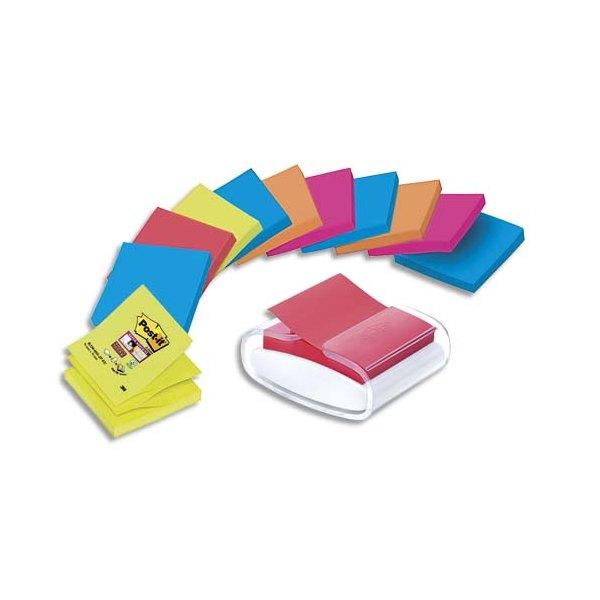 POST-IT Dévidoir Pro blanc + 12 blocs Super Sticky assortis 7,6 x 7,6 cm