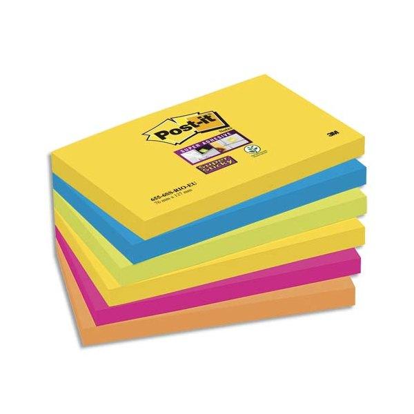 POST-IT Lot de 6 blocs SuperSticky Rio de Janeiro 76 x 127 mm - Couleur rose, orange, jaune