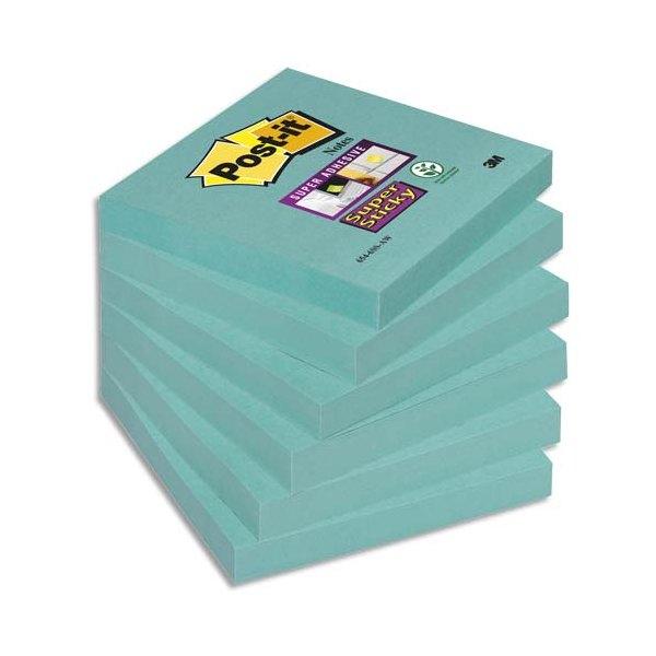 POST-IT Lot de 6 blocs notes repositionnables Super Sticky 90 feuilles 7,6 x 7,6 cm vert olive