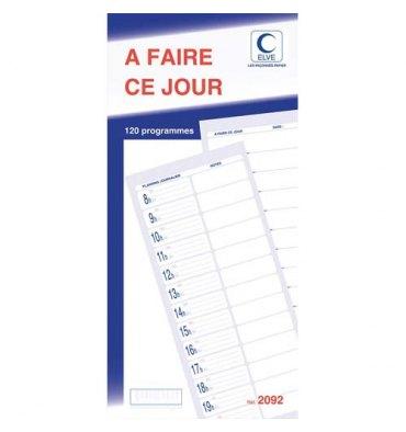 ELVE Carnet de 120 programmes A FAIRE CE JOUR autocopiants