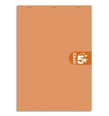 5 ETOILES Bloc agrafé en-tête 160 pages non perforées 80g unies format 14,8 x 21 cm (A5) Couverture orange