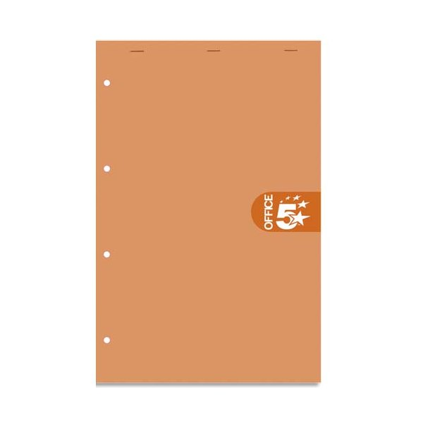 5 ETOILES Bloc agrafé en-tête 160 pages perforées 4 trous 80g 5x5 format 21 x 31,8 cm (A4+) Couverture orange (photo)