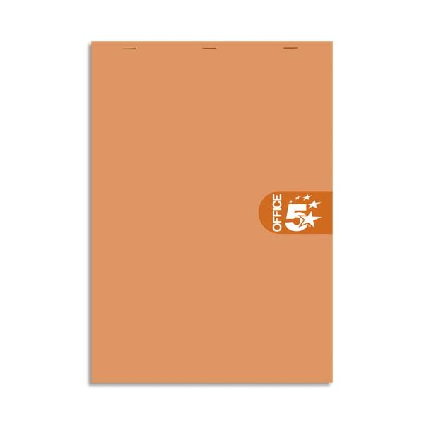 5 ETOILES Bloc agrafé en-tête 160 pages non perforées 80g ligné + marge - 21 x 31,8 cm (A4+) Couverture orange (photo)