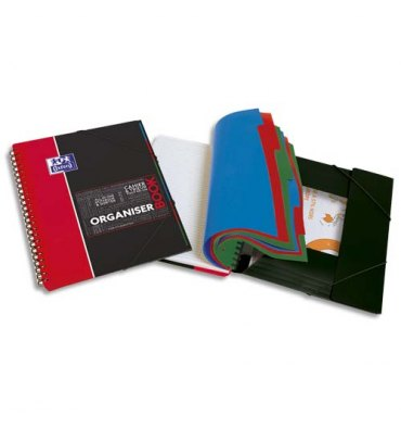 OXFORD Cahier Organiser Book spiralé couverture polypropylène 160p 5x5 24,5 x 31 cm avec appli Scribzee