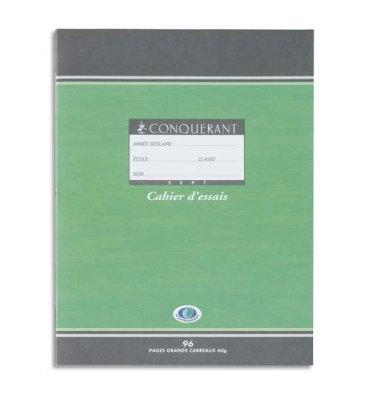 CONQUERANT SEPT BY HAMELIN Cahier d'essais 17 x 22 cm 96 pages grands carreaux papier 60g NF 34