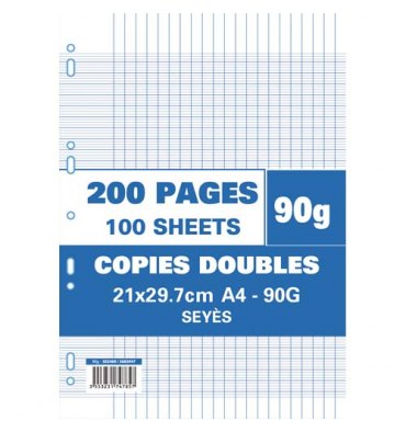 NEUTRE Etui filmé copies doubles perforées 200 pages 90g Seyès 21x29,7 cm Papier blanc