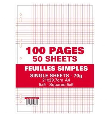 NEUTRE Etui filmé feuillets mobiles perforées 100 pages 70g 5x5 21 x 29,7 cm Papier blanc