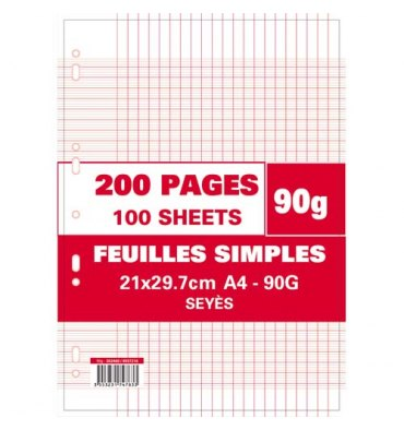 NEUTRE Etui filmé feuillets mobiles perforés 200 pages 90g Seyès 21x29,7 cm Papier blanc