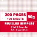 NEUTRE Etui filmé feuillets mobiles perforés 200 pages 90g 5x5 21 x 29,7 cm Papier blanc