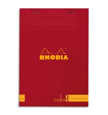 RHODIA Bloc coloR agrafé en-tête 14,8 x 21 cm 140 pages lignées. Couverture rembordée coquelicot