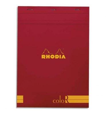 RHODIA Bloc coloR agrafé en-tête 21 x 29,7 cm 140 pages lignées. Couverture rembordée coquelicot
