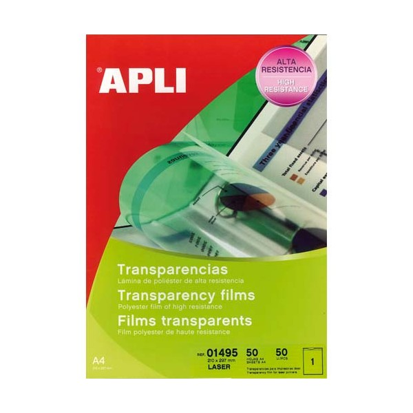 APLI Boîte de 50 film transparents pour imprimante laser Couleurs (photo)