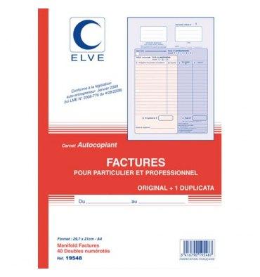 ELVE Manifold auto entrepreneur autocopiant factures format 210 x 297 mm. 40 feuillets dupli
