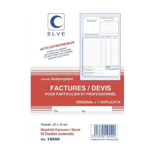 ELVE Manifold entrepreneur autocopiant factures / Devis  format 210 x 140 mm. 50 feuillets dupli