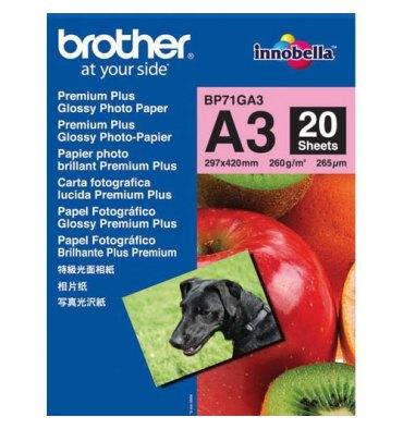 BROTHER Pack de 20 feuilles de papier photo A3