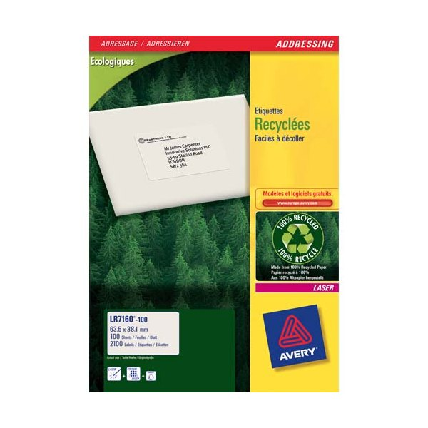 AVERY Boîte de 2100 étiquettes adresses laser recyclées blanc 63,5 x 38,1 mm