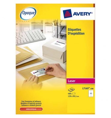 AVERY Boîte de 100 étiquettes laser blanc 199,6 x 289,1 mm L7167-100