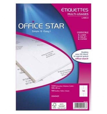 OFFICE STAR Boîte de 1400 étiquettes multi-usages blanches 99,1 x 38,1 mm OS43437