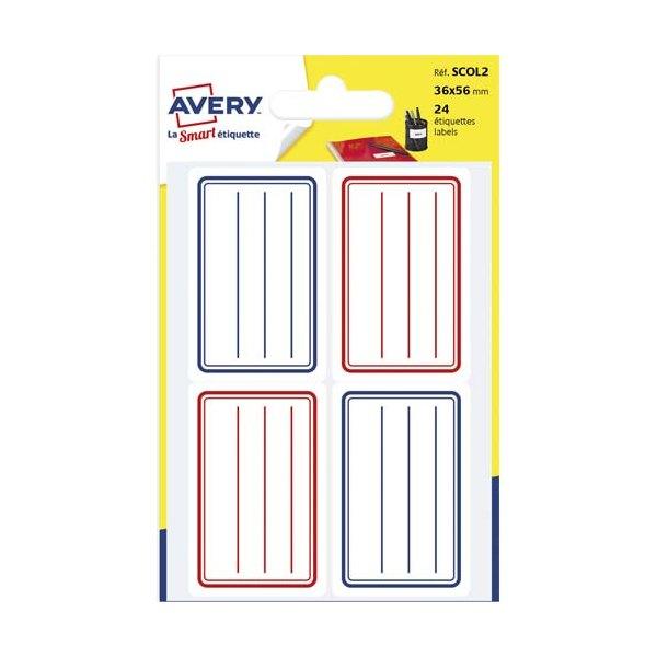 AVERY Sachet de 24 étiquettes scolaires lignées bleu et rouge 36 x 56 mm (photo)