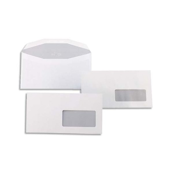 GPV Boîte de 1000 enveloppes mise sous pli 114 x 229 mm blanches fenêtre 45 x 100 mm 80g