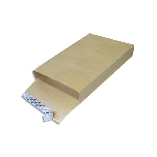 GPV Boîte de 250 pochettes anti-éclatement kraft armé auto-adhésives à 3 soufflets au format 26 - 280 x 380 mm