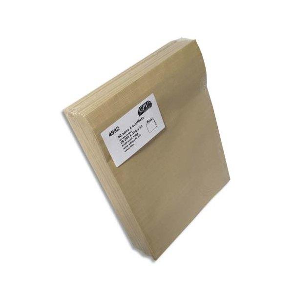 GPV Paquet de 50 pochettes anti-éclatement en kraft armé format 26 - 275 x 365 mm à 3 soufflets de 50 mm