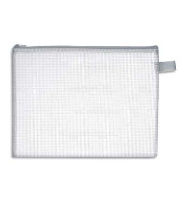 JPC Pochette zippée en PVC renforcé semi-transparente pour le courrier format 19 x 25 cm, épaisseur 0,5 cm