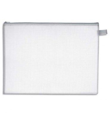 JPC Pochette zippée en PVC renforcé semi-transparente pour le courrier - format 26 x 34,5 cm épaisseur 0,5 cm