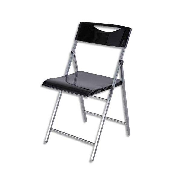 ALBA Chaise d'accueil pliante Smile en acier et revêtement en polypropylène noire, 4 pieds (photo)