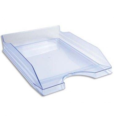 EXACOMPTA Corbeille à courrier ECO bleu translucide - Dimensions : 25,5 x 6,5 x 34,5 cm