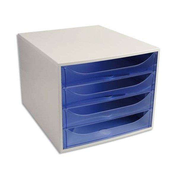 Module de classement ECO 4 tiroirs gris bleu translucide - 28,4 x 23,4 x 34,8 cm