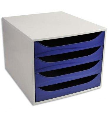 5 ETOILES Module de classement ECO gris et 4 tiroirs bleus - Polystyrène - 28,4 x 23,4 x 34,8 cm