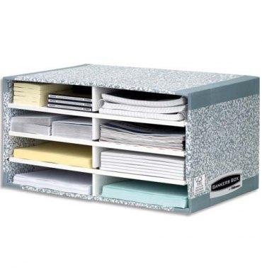 BANKERS BOX Module de tri carton 8 compartiments gris, en carton recyclé gris/blanc