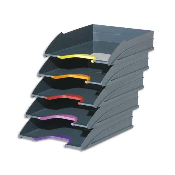 DURABLE Set de 5 corbeilles à courrier Varicolor - 25,5 x 5,5 x 33 cm coloris assortis