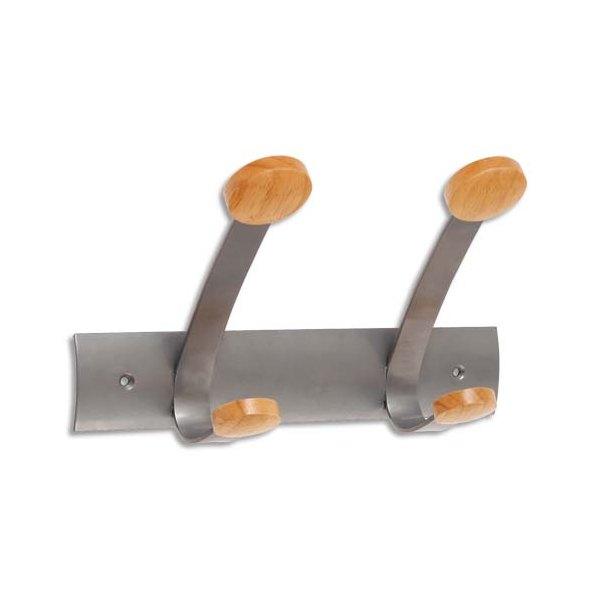 ALBA Doubles patères et crochets embouts en bois gris métal (photo)
