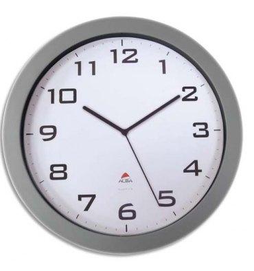ALBA Horloge murale Hobig/Horissimo silencieuse grand format-pile AA non fournie - Diam 38 cm - métal