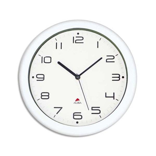 ALBA Horloge murale Hornew sielncieuse mouvement quartz à pile 1AA non fournie - D30 cm, P4,08 cm blanc (photo)