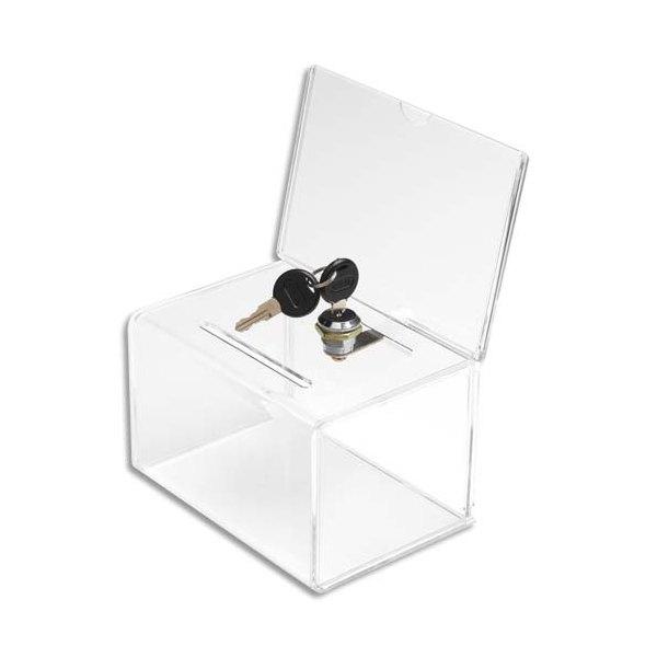 DEFLECTO Urne avec porte-visuel et serrure, insert 15,2 x 10,2 cm - 14,9 x 22,2 x 10,8 cm transparent